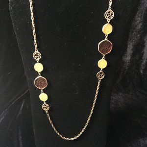 Gold and Amber Single Strand Necklace